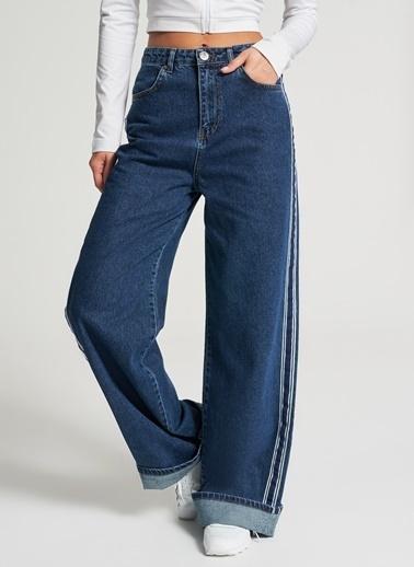 Pi π Yanı Şerit Detaylı Jean Pantolon Mavi